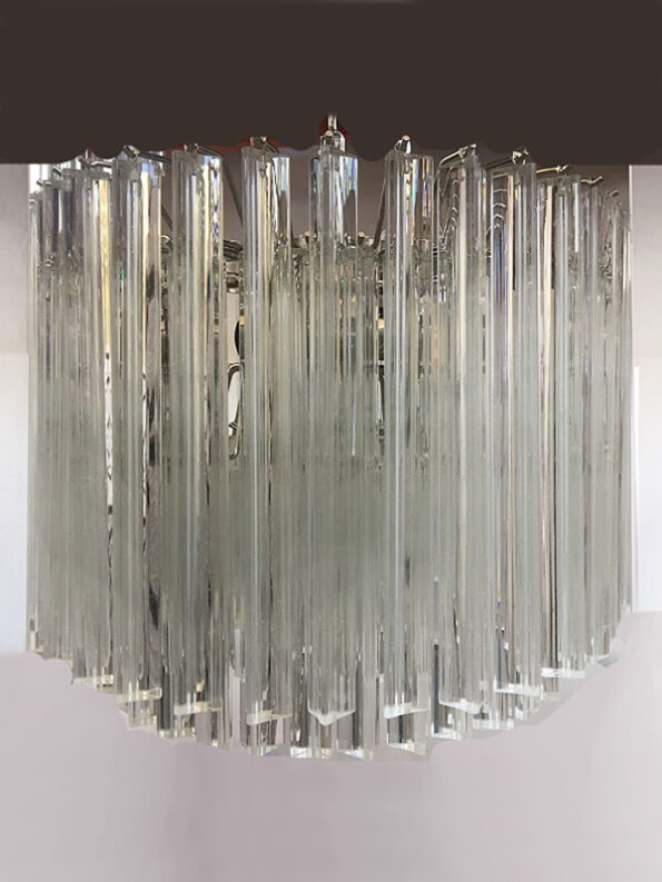 Chandelier made with transparent concave triedri Murano