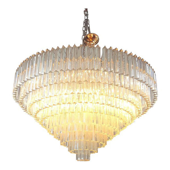 Chandelier made with transparent Triedri Murano