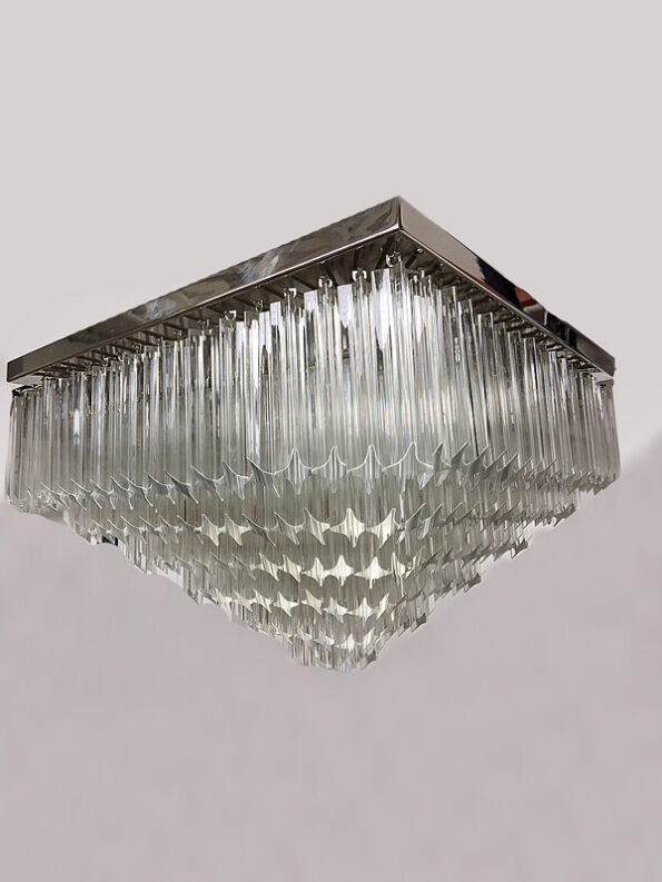 Square Chandelier made with transparent Triedri Murano