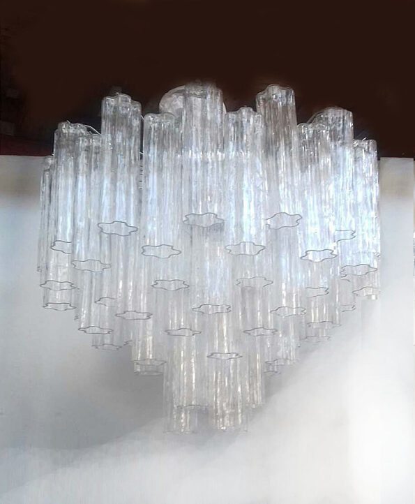 Chandelier made with transparent cylinders Murano glass