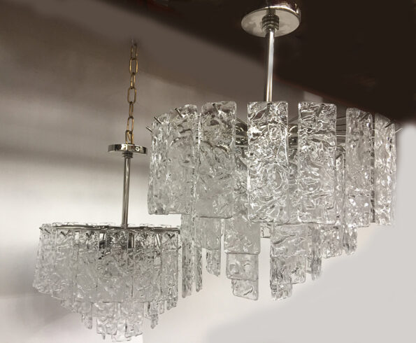 Chandelier made with transparent hammered rectangoular Murano glass elements