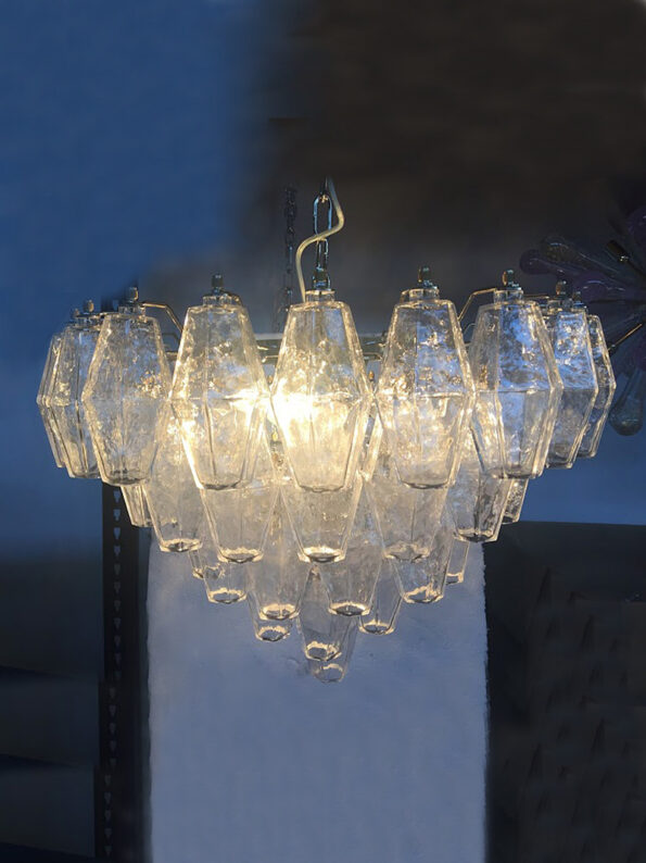 Chandelier made with transparent polyhedrons all in Murano glass