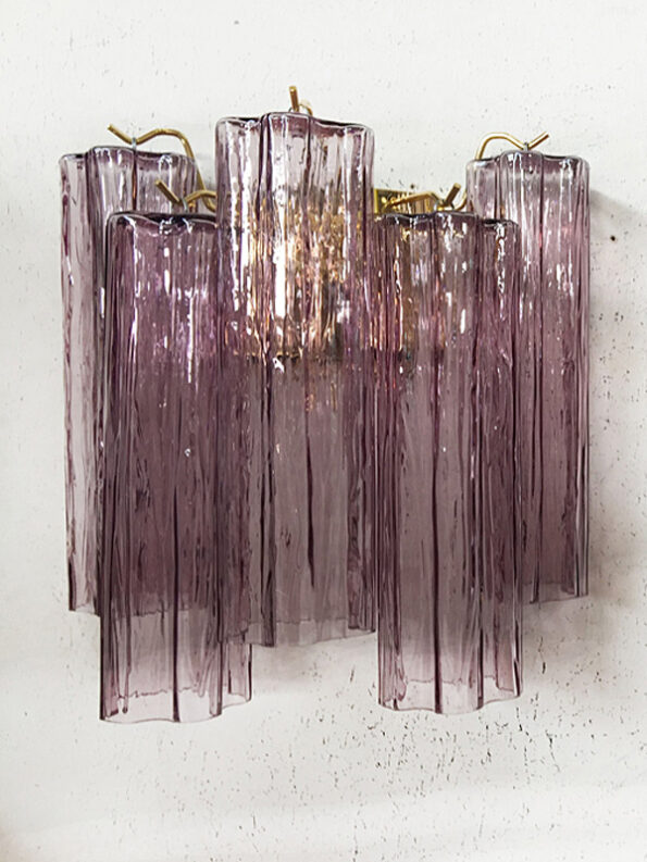 Wall lamp made with violet cylinders tronchi Murano glass