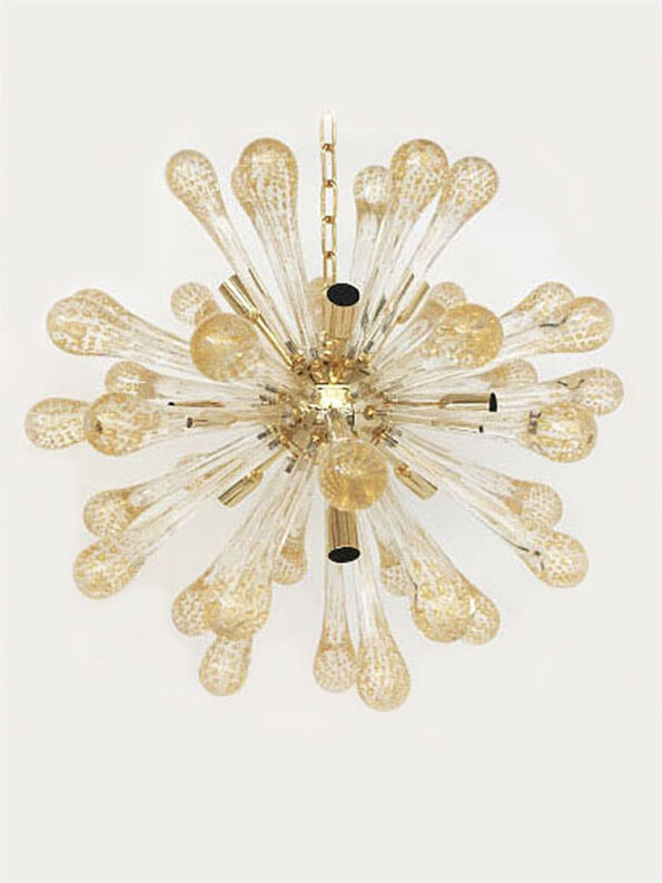 Sputnik Chandelier made with tranparent gold dropswith bubbles inside all in Murano glass